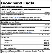 FCC broadband Billing label